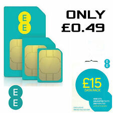 EE 4G £15 Data Pack Pay As You Go SIM PAYG Nano/Micro/Standard Triple Cut New UK