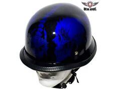Motorcycle Helmet German Style Skull, Blue - Biker Chopper Gear New S,M,L, XXL