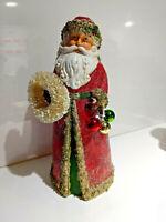 Vtg. Style Midwest Cannon Falls Santa w/ Wreath & Jingle Bells, Mica Glitter