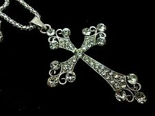 "A MADONNA STYLE  CLEAR CRYSTAL RHINESTONE CROSS NECKLACE. GOTH. 28"" LONG. NEW."