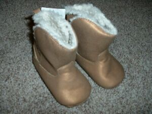 Carter's Tan Brown Sherpa Boots Booties Baby Infant Girls 6-9 mos months NWT