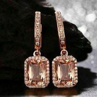 4Ct Emerald-Cut Champagne Morganite Drop/Dangle Earrings 14K Rose Gold Finish
