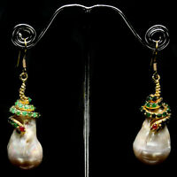 NATURAL WHITE BAROQUE PEARL,GREEN EMERALD & PINK RUBY   925 SILVER EARRINGS 14K