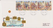 GB Royal Mail FDC 1989 alcalde de show sello conjunto Pegatina Truro PMK Po