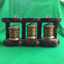 3 in 1 BRASS & COPPER Tibetan Buddhist PRAYER WHEEL for WALL from Nepal SM