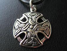 Keltischer Knoten 925'er Silber + Echtlederband Ketten Anhänger  / KA 845