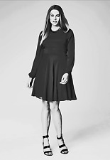 Simply Be Plus Size 20 Black Chiffon Long Sleeved Skater DRESS Evening Party LBD
