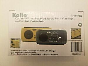 Kaito KA332W AM FM Weather Emergency Radio/Flashlight/SolarCrank/USB/Batt YLW