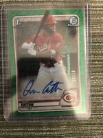 QUIN COTTON REDS ON CARD AUTO 2020 BOWMAN CHROME GREEN SHIMMER REFRACTOR 87/99