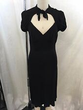 BETSEY JOHNSON BLACK TIE NECK PUFF SLEEVE V-NECK DRESS SIZE 6