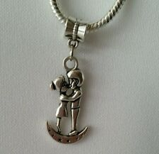 Kissing Lovers on Moon Dangle Charm Pendant Bead fit European Bracelet/Necklace