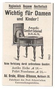 Skurriler Toilettenstuhl Klo 1900 antike original Werbung Anzeige Holzstich