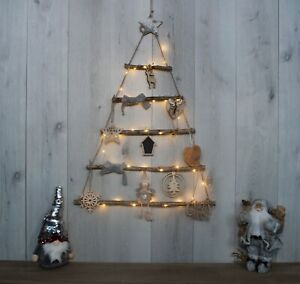 82cm Hanging Wooden Rope Ladder Christmas Tree With LED's & Decor Rustic DIY