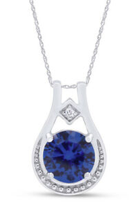 """Round Blue Sapphire Pendant Necklace W/ 18"""" Chain In 14k White Gold Over Silver"""