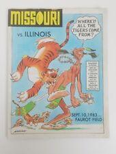1983 Missouri vs Illinois Football Program Faurot Field Sept 10, 19983
