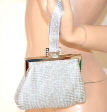 BOLSO CLUTCH bag plata strass cristales mujer elegante ceremonia matrimonio 1300
