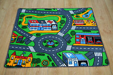 Kids Bedroom Car Play Mat Rug 100cm x 94cm Car Racing Road Map Carpet Rug