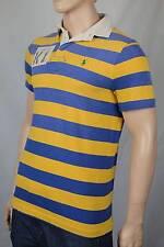 Ralph Lauren X-Large XL Blue Yellow Stripe Rugby Polo Shirt Custom Fit NWT $145