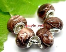 20pcs Brown Whirlpool Resin Beads Fit European Bracelet AK135