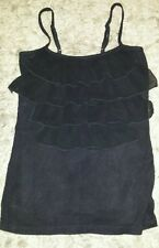 WOMENS Sz S black VALLEYGIRL tank top / cami LOVELY! RUFFLES!
