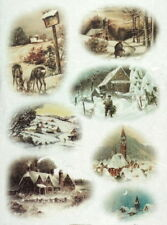 Rice Paper for Decoupage Scrapbook Craft Sheet Small Winter landscape wood