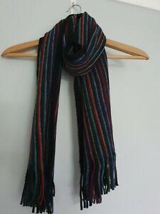 Black Multi Colour Striped Scarf