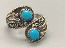 Vintage Signed Navajo EY Elsie Yazzie Sterling Silver and Turquoise Ring
