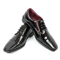 New Men's Dress Tuxedo Shoes Black Cap Toe Patent Leather Shiny Lace Up Parrazo
