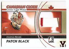 11/12 ITG CANADA vs WORLD FINAL VAULT CANADIAN CLOTH PATCH Jonathan Bernier 1/1