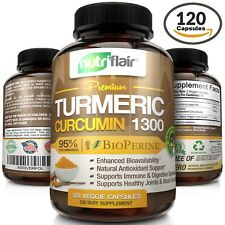 ▶ Turmeric Curcumin with Bioperine Black Pepper 95% Curcuminoids 1300mg 120 caps