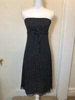 Harold's Strapless Dress 100% Silk Black & White Polka dot Lined Size 4 Bin T