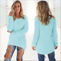 Mode Damen Übergröße Strickpullover Bluse Sweatshirt Pullover Baggy Jumper Tops