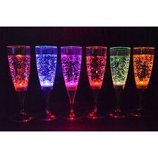 6 Set LED Light Wine Flute Light Up Liquid Activated Champagne Glasses BT