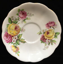 Saucer Queen Anne Manor Rose Pink & Yellow Roses on White Fine Bone China