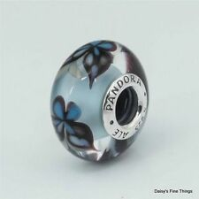 NEW! AUTHENTIC PANDORA CHARM BLUE BUTTERFLY KISSES MURANO #791622  P