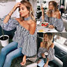 Women Sexy Off Shoulder Long Sleeve Shirt Summer Striped Crop Tops Party Blouse#