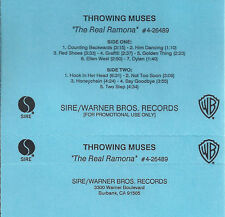 "THROWING MUSES ""The Real Ramona"" PROMO CASSETTE. SIRE/WB RARE."