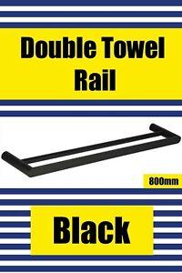 Brand New- BLACK- Double Towel Rail 800mm (SLEEK Range) Free Postage Aus Wide