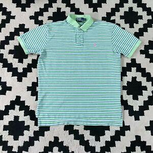 Polo Ralph Lauren Mens Polo Shirt PINK GREEN  L Short Sleeve LARGE Pastel