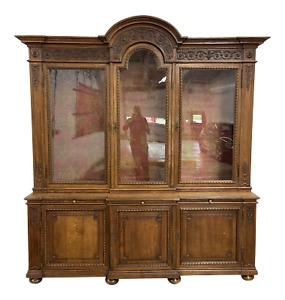 Antique Carved Oak Bookcase Or Breakfront