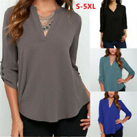 Women Ladies Chiffon Long Sleeve V-neck Blouse Shirt Tops Fashion Clothes S-5XL