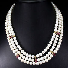 Heated Oval Red Ruby 5x4mm Pearl Cz 925 Sterling Silver Necklace 20.5 Inches