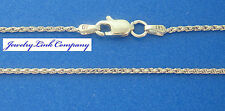 """14K Solid White Gold 1mm Diamond Cut Rope Chain 30"""" 4.1grams"""