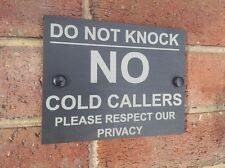 No Cold Callers Natural Slate Gate Wall Door Plaque Sign 13cm x 17cm Design 2