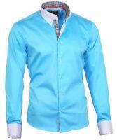 Herrenhemd Herren Hemd Satin Baumwolle Binder de Luxe 80806 Türkis M-3XL shirt