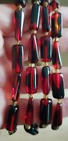 Stunning vintage red Czech glass long flapper necklace twisted two tone beads