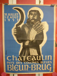 affiche Bretagne Bleun Brug Chateaulin 1953