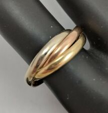 14K TRICOLOR GOLD TRINITY ROLLING RING