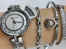 ORIGINAL ANNE KLEIN Watch Set AK/3426SVST Silver-tone Bangle Crystals 30mm