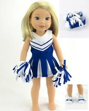"""Doll Clothes 14.5 Inch Wellie Wishers Cheerleader Sneakers Blue Fit 14.5"""" Dolls"""